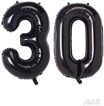 AULE 40 Inch Jumbo Black Foil Mylar Number Balloons for Men Women 30th Birthday Party Decorations 30 Years Old Anniversary Party Supplies