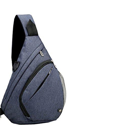 Yy.f Nuevo Ocio Bolsa De Hombres De Negocios En El Pecho La Interfaz USB Personalizada Función De Carga Externa Oxford Mochila De Gran Capacidad Mochila Multicolor Blue
