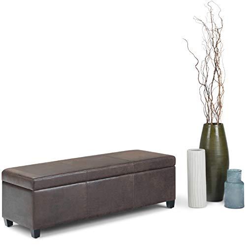 Simpli AXCF18-DBR Avalon Storage Ottoman Bench in Distressed Leather