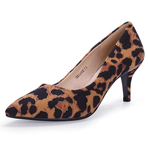 IDIFU Women's IN3 Classic Slip On Pointed Toe Mid Heel Low Kitten Dress Pump Basic Shoes (Half Size Large) (9.5 M US, Leopard Suede) ()