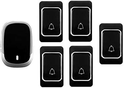 IP44防水ワイヤレスドアベル、ホーム超長距離ドアチャイムキット、5プッシュボタン+1 レシーバー、36着メロ、4音量レベル,黒