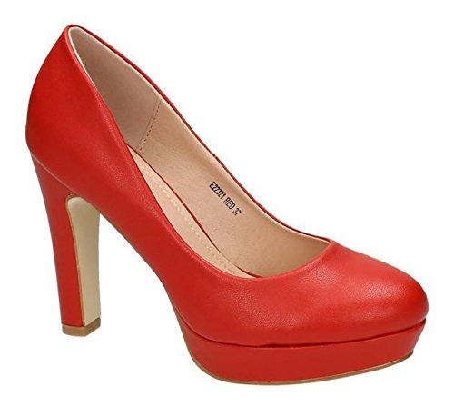 Klassische Damen Lack Pumps Stilettos High Heels Plateau Abend Schuhe Bequem 22 Rot 3