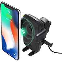 iOttie Easy One Touch Qi Wireless Fast Charge Air Vent Car Mount for Samsung Galaxy S9 Plus S8 S7 Edge Note 8 & Standard Charge for iPhone X 8 Plus & Qi Enabled Devices Includes Dual Car Charger