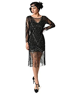 Unique Vintage Black & Gold Beaded Sheer Long Sleeve Betty Flapper Dress