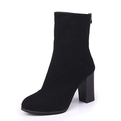 Stiefel Damen Schwarz Absatz Lange Mumuj Sale Mode Leder