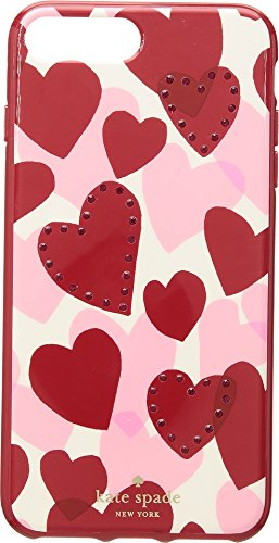 Womens Plus Hearts (Kate Spade New York Women's Jeweled Heart Phone Case for iPhone 7 Plus/iPhone 8 Plus Red Multi One Size)