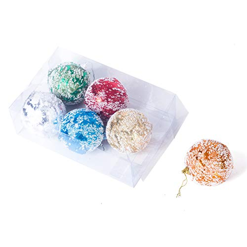 Xena 6 Pack Elegant Snow Kissed Shiny Festive Christmas Shatterproof Foam Ball Ornaments, 3.15 Inches Each Holiday Xmas Tree Decorations Red Green Blue Silver Gold Orange Classic Decor Blue Green Silver Christmas Trees