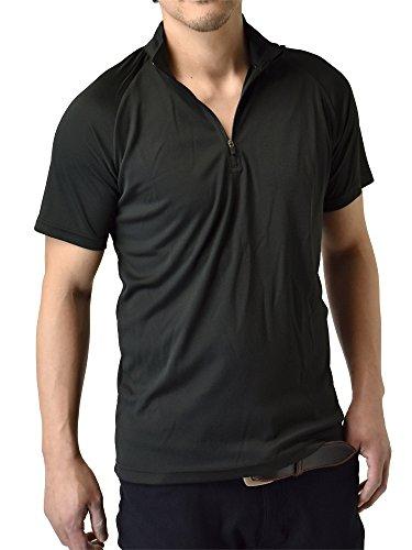 篭慎重に奇跡的な(アルージェ) ARUGE 感動ドライ 吸汗速乾 接触冷感 UVカット UPF50+ 半袖ポロシャツ Tシャツ ゴルフウエア ハーフジップ 水陸両用 メンズ/C5F