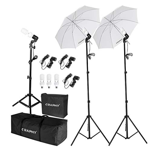 CRAPHY 600W Photo Studio Umbrella Continuous Lighting Kit Photography Umbrella Kit Light with Bulb Case,Light Stand Carrying Bag for Portrait Video Shooting YouTube (Studio Continuous Lighting Kit)