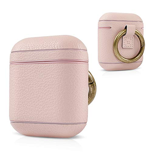 (top4cus Environmental Genuine Leather Surface Covering Protective Case for AirPods Charging Case Compatible AirPods 1 AirPods 2)