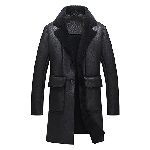 Cool Black Notched Collar Shearling Jacket Men Business Elite Leather Jacket with Fur Lining Shearling Coats Long Style (Black, M) (Fur Collar Coat Notched)