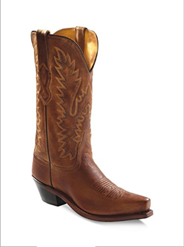 Old West Tan Canyon Womens All Leather 12in Snip Toe Cowboy Western Boots 7.5 B