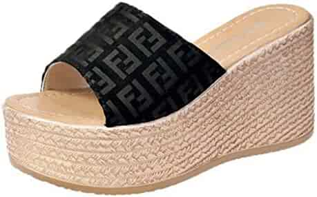 7173ac1c7 BMTH Women Peep Toe Clogs Slip on Roman Cork Wedge Sandals Slide Shoes  Slipper High Heels