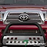 toyota tacoma 2009 bull bar - Topline Autopart Matte Black Bull Bar Brush Push Front Bumper Grill Grille Guard With Brush Aluminum Skid Plate For 05-15 Toyota Tacoma