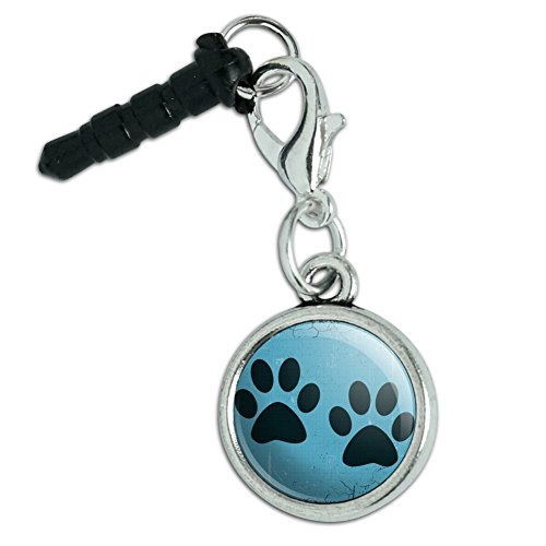 - Universal Fit 3.5mm Earphone Headset Jack Charm Anti-Dust Plug fits Mobile Cell Phone iPhone iPod iPad Galaxy Paw Print Artsy Cat Dog - Blue Set