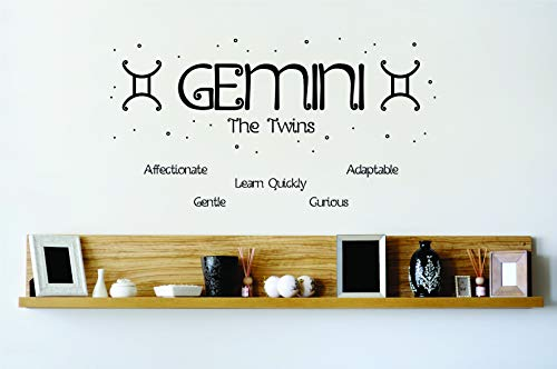 (Gemini The Twins - Horoscope / Zodiac / Astrology / Birthday Star Sign Sayings or Quotes Decal Vinyl Wall Art House Decor Stickers for Boys / Girls Bedroom, Kitchen, House Decoration Size (12x30 inch) )