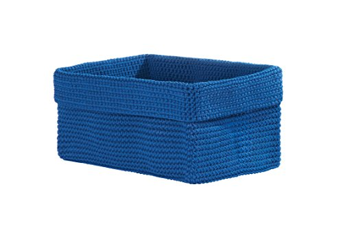 Heritage Lace Mode Crochet Rectangle Basket, 10 by 6 by 7-Inch, Cobalt Blue