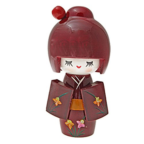 EbuyChX Wooden Carmine Painted Japanese Kokeshi Doll ()
