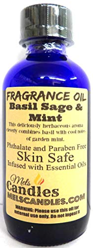 Basil Sage Mint 4oz Blue Glass Bottle of Premium Grade a Fragrance Oil, Skin Safe Oil, Candles, Lotions Soap & More