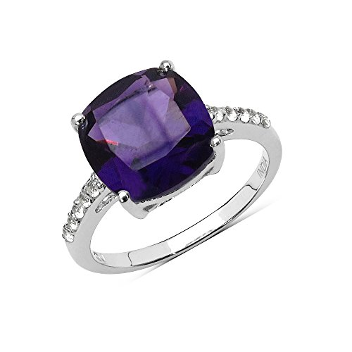2.99 Carat Genuine Amethyst and White Topaz Solid .925 Sterling Silver Ring