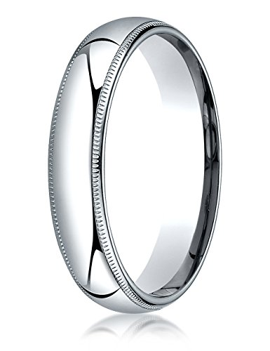 Benchmark Platinum 5mm Slightly Domed Super Light Comfort-fit Wedding Band / Ring Milgrain Size 7.5 (Band Platinum Wedding Domed Milgrain)