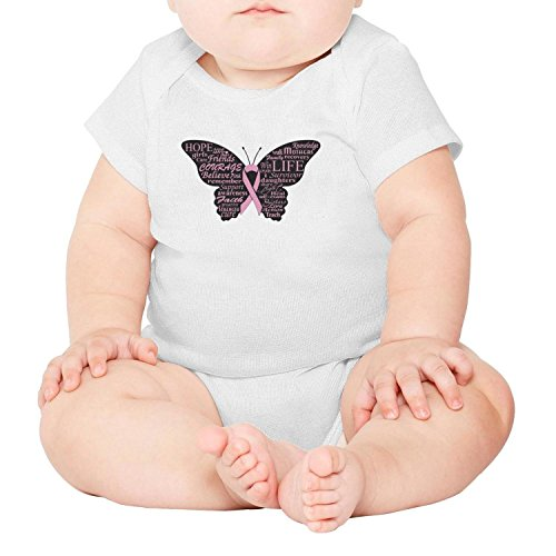 SHUOCDAH Pink Ribbon Butterfly Breast Cancer Baby Girls Cool Newborn Clothes