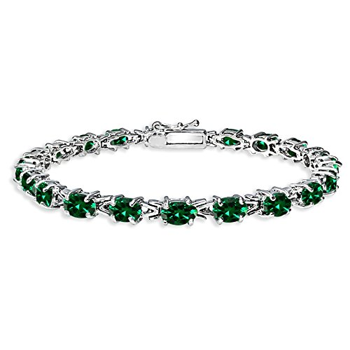 (Sterling Silver Polished Simulated Emerald 6x4mm Oval-cut Link Tennis Bracelet)