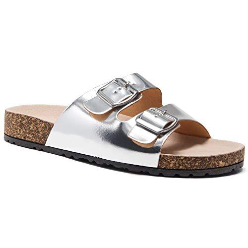 - Herstyle Softey Women's Comfort Buckled Slip on Sandal Casual Cork Platform Sandal Flat Open Toe Slide Shoe Silver 11.0