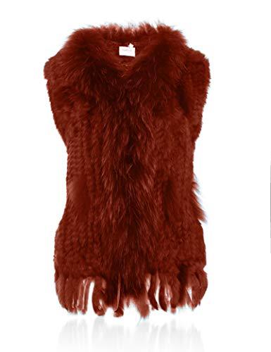 HEIZZI 100% della pelliccia del coniglio con Raccoon collo in maglia Elegante Soft Rosso-arancio