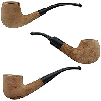 Briar Tobacco Pipes - Assorted 3 Pack of Bent Smoking Pipes with Unfinished Bowls