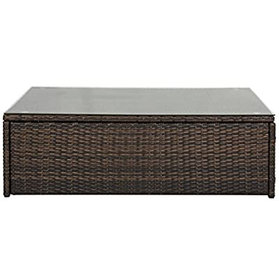 Best Choice Products Outdoor Wicker Glass Top Coffee Table Patio Garden Rattan Furniture Backyard