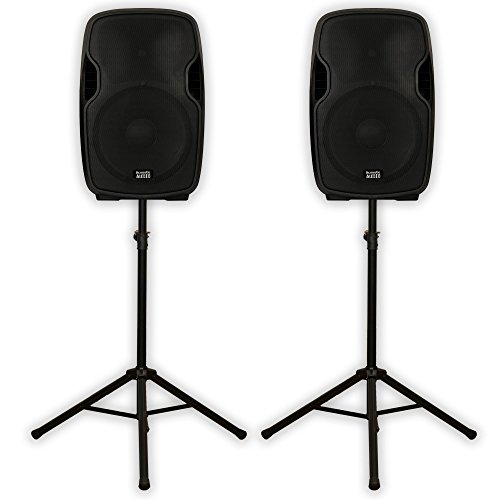 Acoustic Audio AA15U Powered 15'' Speaker Pair 2000 Watts 2 Way USB MP3 Players and Stands AA15U-PK2 by Acoustic Audio by Goldwood