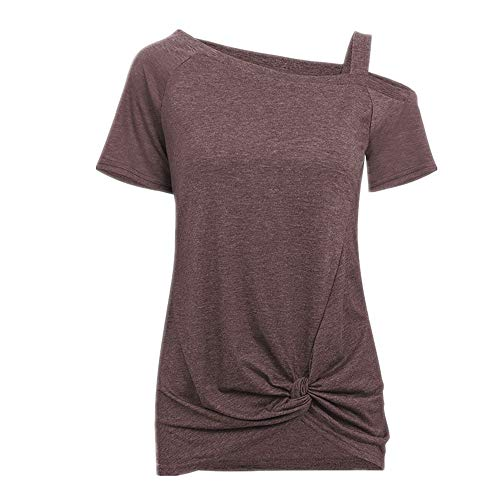 wenwenxiaopu Women's Casual Loose Off-Shoulder Short-Sleeved Shirt Brown (Best Insect Repellent For African Safari)