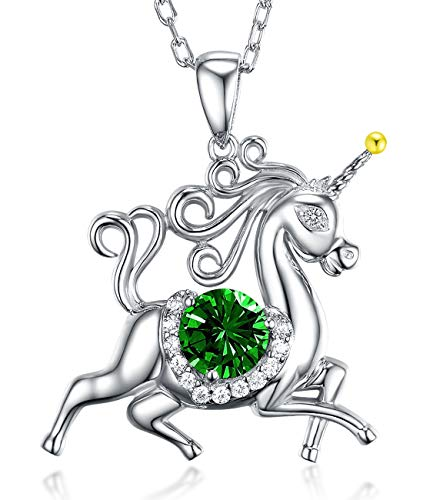 (Unicorn Green Emerald Necklace Jewelry Gifts for Girls Sterling Silver Animal Pendant Necklace Anniversary Birthday Gifts for Women Her Wife Girlfriend Daughter Granddaughter Fiancée 20