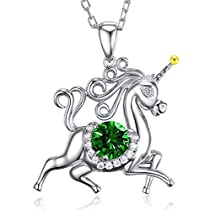Unicorn May Birthstone Green Emerald Necklace Sterling Silver Jewelry Birthday Gifts for Women Girls Animals Necklace Mothers Day