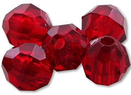 River Guide Supply Faceted Acrylic Plastic Beads 100 Pack - Made in USA (Ruby Red, 10mm)]()