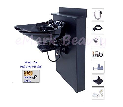 TILTING CERAMIC Shampoo Bowl Black Floor Length Backsplash 07-BC38