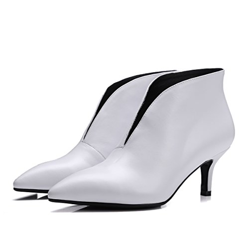 White Heel V With Pointed Fashion Fine Leather Mouth Female Naked Boots qvwf4pR