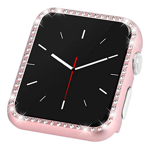 CooBES Compatible with Apple Watch Case 38mm 42mm, Metal Bumper Protective Cover Women Bling Diamond Crystal Rhinestone Shiny Compatible iWatch Series 3/2/1 (Diamond-Rose Gold, 42mm)