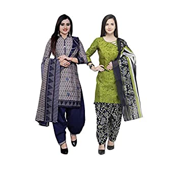 Rajnandini Women's Grey And Light Green Cotton Printed Unstitched Salwar Suit Material (Combo Of 2) (Free Size)