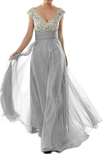 MACloth Cap Prom V Chiffon Crystal Long Women Dress Silber Neck Sleeve Gown Evening BBqr5