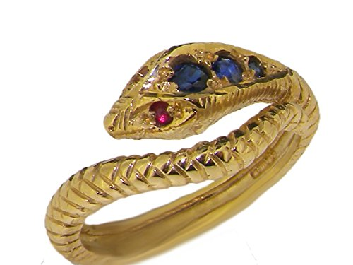 14k Yellow Gold Natural Sapphire and Ruby Womens Band Ring - Sizes 4 to 12 Available (Natural Yellow Gold Sapphire 14k)
