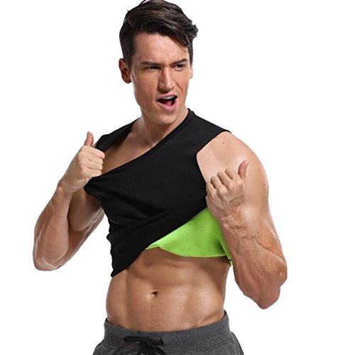 Partner 2 Burner - MISS MOLY Men Shirt Black Neoprene Body Shaper Hot Sweat Workout Tank Top Black M