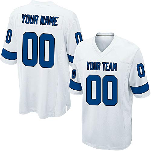 Custom Youth White Mesh Football Game Jersey for Kids Swen Team Name and Your Numbers,Blue-Black Size M