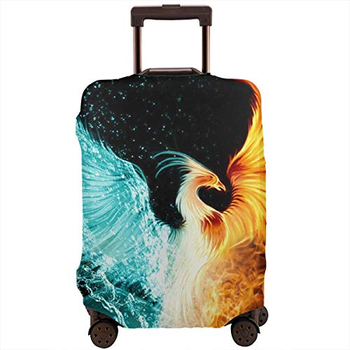 Travel Luggage Suitcase Protector Zipper Closure Baggage Protector for 18-28 Inch Luggage, Anti-theft Removing-Free Luggage Case Protective Cover, Cool Fire Flame Phoenix Bird Black