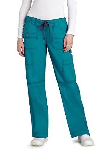 Adar Pop Stretch Junior Fit Low Rise Multi Pocket Straight Leg Pants   3100   Teal Green   Xxs