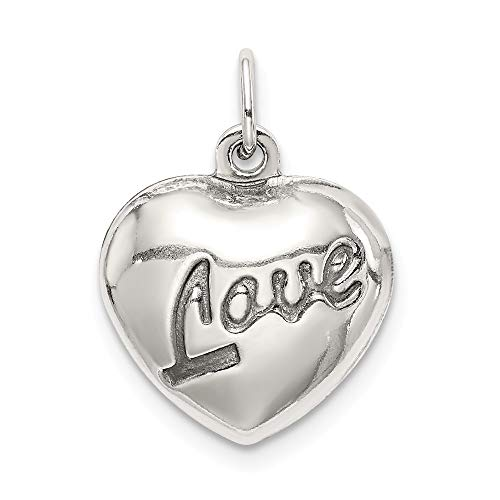 (Sterling Silver Love Puffed Heart Charm)