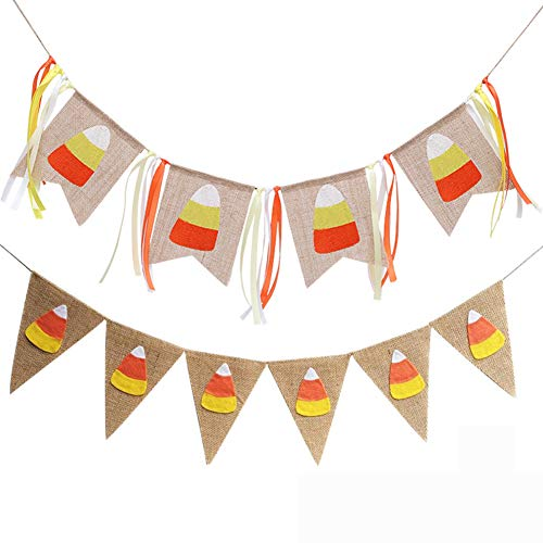 (Candy Corn Banner Burlap Pennant Flag for Happy Harvest Fall Party Thanksgiving Halloween Party Favor Banner Decoration 2Pcs)