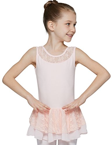 MdnMd Ballet Leotard for Toddler Girls with Attached Lace Skirt (Ballet Pink, 2T-4T, Height 39-44