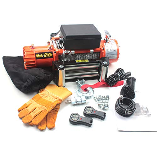 AC-DK 9500lbs to 13500lbs Electric Winch Water Proof IP67 Recovery Winch 12V DC Orange Color Come with Overload Protection, Winch Dust Cover and 2 Wireless Remotes (12500lbs with Steel Rope)